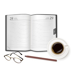 Cup of fragrant coffee diary vector