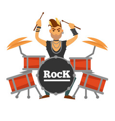 Drum player with iroquois performs rock song vector