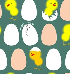 Egg and chicken Chicks in their shells seamless vector image vector image