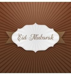 Eid mubarak festive paper tag vector