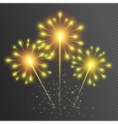 Fireworks yellow glowing light glitter effect vector