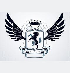 heraldic coat of arms decorative vintage award vector image