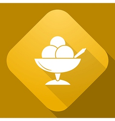 icon of Ice Cream with a long shadow vector image
