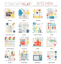 Infographics mini concept Kitchen tools icons for vector image vector image