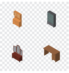 Isometric design set of cupboard sideboard table vector