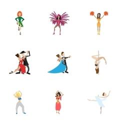 Kind of dances icons set cartoon style vector