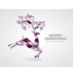 Merry Christmas retro geometric reindeer vector image vector image
