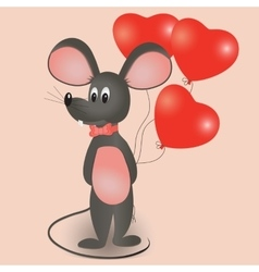 Mouse with balloons in the form of heart vector
