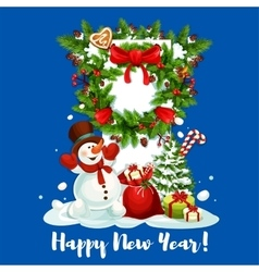 New year card with snowman gift and wreath vector