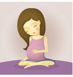 pregnant woman sitting peaceful cartoon vector image