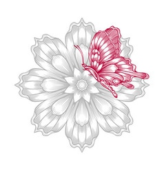 Red decorative butterfly with flower vector