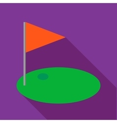 Red golf flag icon flat style vector image