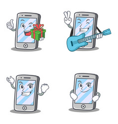 Set of iphone character with gift guitar smirking vector