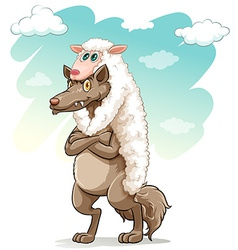 Sheep hugging the wolf vector