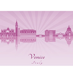 Venice skyline in purple radiant orchid vector image