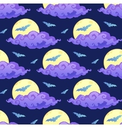 Violet clouds yellow moon and blue bats vector