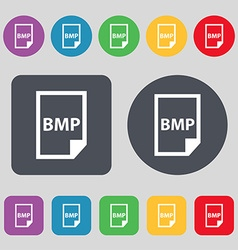 Bmp icon sign a set of 12 colored buttons flat vector