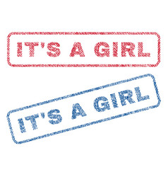 It s a girl textile stamps vector