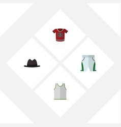 flat dress set of t-shirt singlet trunks cloth vector image