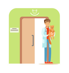 Veterinary doctor holding a cat in his hand vector