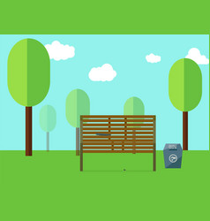 Park and wooden public seats and blue bin side vector