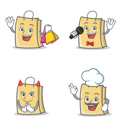 Set of bag character with shopping karaoke devil vector