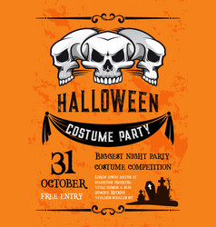 Halloween skull banner for costume party template vector