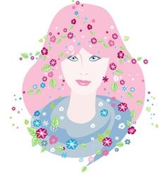 Girl of spring vector