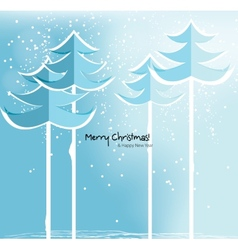 Abstract christmas card with snowy trees vector