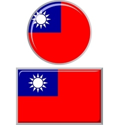 Taiwan round and square icon flag vector image