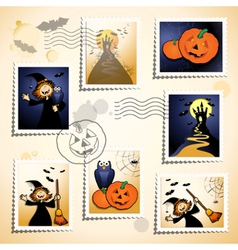 Halloween stamp set vector
