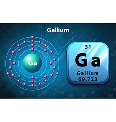 Symbol and electron diagram for gallium vector