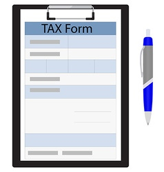 Tax form and ball pen vector
