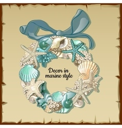 Wreath of marine inhabitants interior decor vector