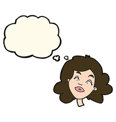 Cartoon happy female face with thought bubble vector