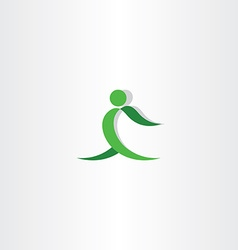 Green man exercise logo icon vector
