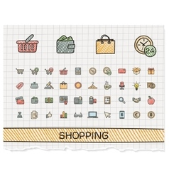 Shopping hand drawing line icons doodle vector