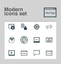 Advertising icons set collection of web page vector