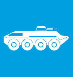 Armored personnel carrier icon white vector