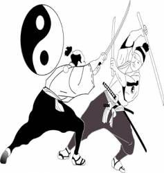 Asian sword fight vector image