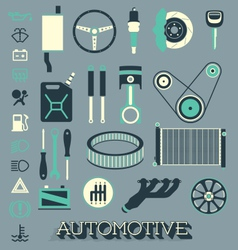 Automotive parts icons and symbols vector