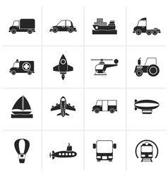 Black Different kind of transportation icons vector image vector image