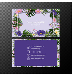 Businesscard template with flowers on blue vector
