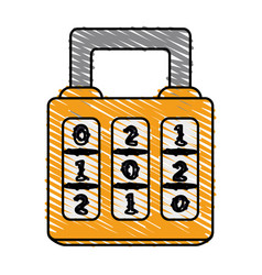 Color crayon stripe cartoon combination padlock vector