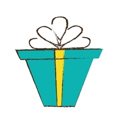 Color gift box ribbon package decor sketch vector