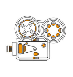 Color silhouette image retro movie film projector vector