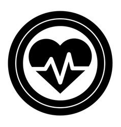 Contour sticker heartbeat cardio vital sign vector