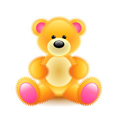 Cute orange bear soft toy isolated on white vector
