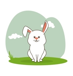 Cute rabbit isolated icon vector