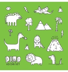 Dino cartoon set white vector